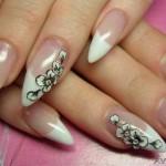 Черно-белая лепка ногтей