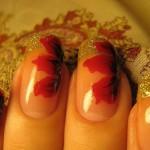 """Красный дизайн ногтей """"Осенний"""""""