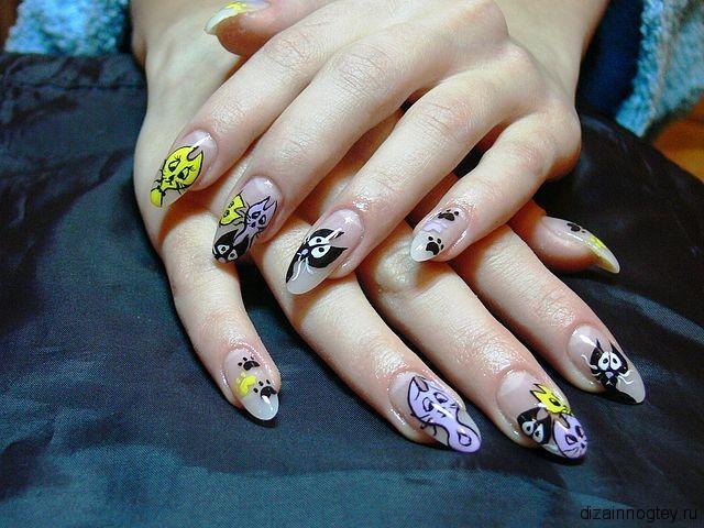 Дизайн ногтей кошка фото