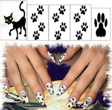 Ногти с нарисованными кошачьими лапками