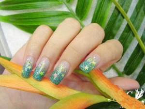 оригинальное наращивание зеленый дизайн ногтей